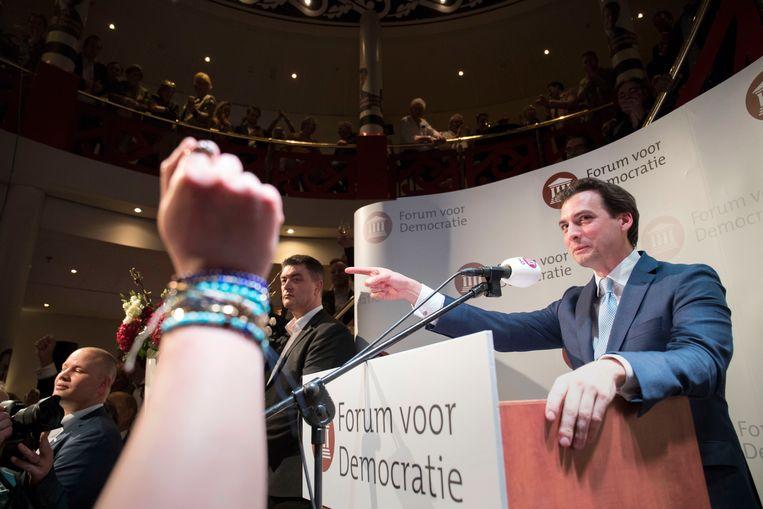 Nederland, Zeist, 20 maart 2019. Forum voor Democratie met Thierry Baudet grote winnaar. Provinciale Staten, verkiezingen. Staat de pers te woord. Foto: Werry Crone Beeld Werry Crone