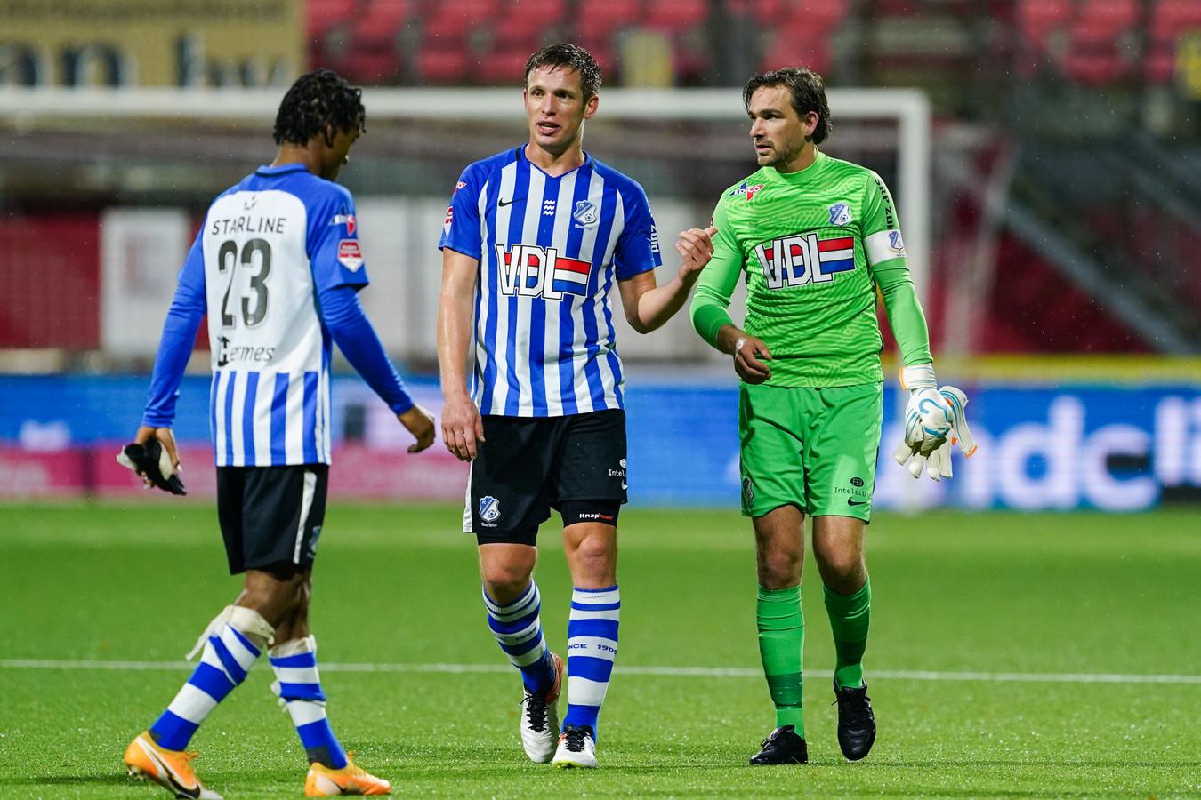 Doelman Ruud Swinkels (r) van FC Eindhoven.