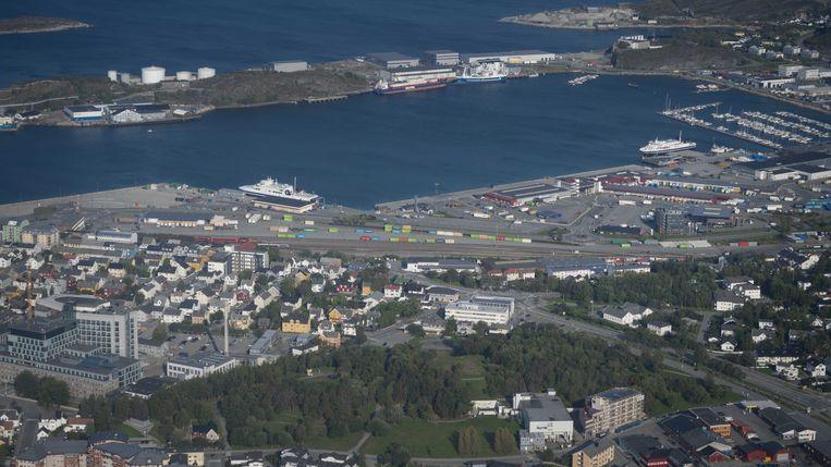 Het treinstation en de haven van het stadje Bodø. Beeld ANP