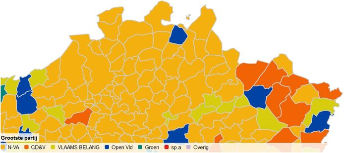 De kaart van de Kempen voor de Vlaamse verkiezingen: Merksplas kleurt als enige blauw, in de Zuiderkempen is Vlaams Belang op drie plaatsen de grootste en in alle andere gemeenten zwaait N-VA de plak nog.