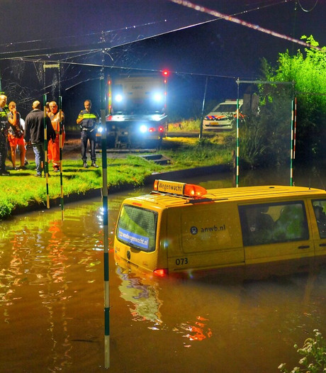 ANWB-auto te water in Riethoven