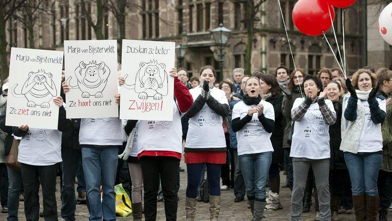 Stakende leraren in Den Haag op 9 januari van dit jaar. Archieffoto © anp Beeld