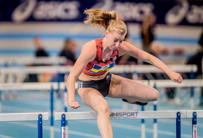 Eefje Boons in actie eerder dit jaar tijdens het NK indooratletiek.