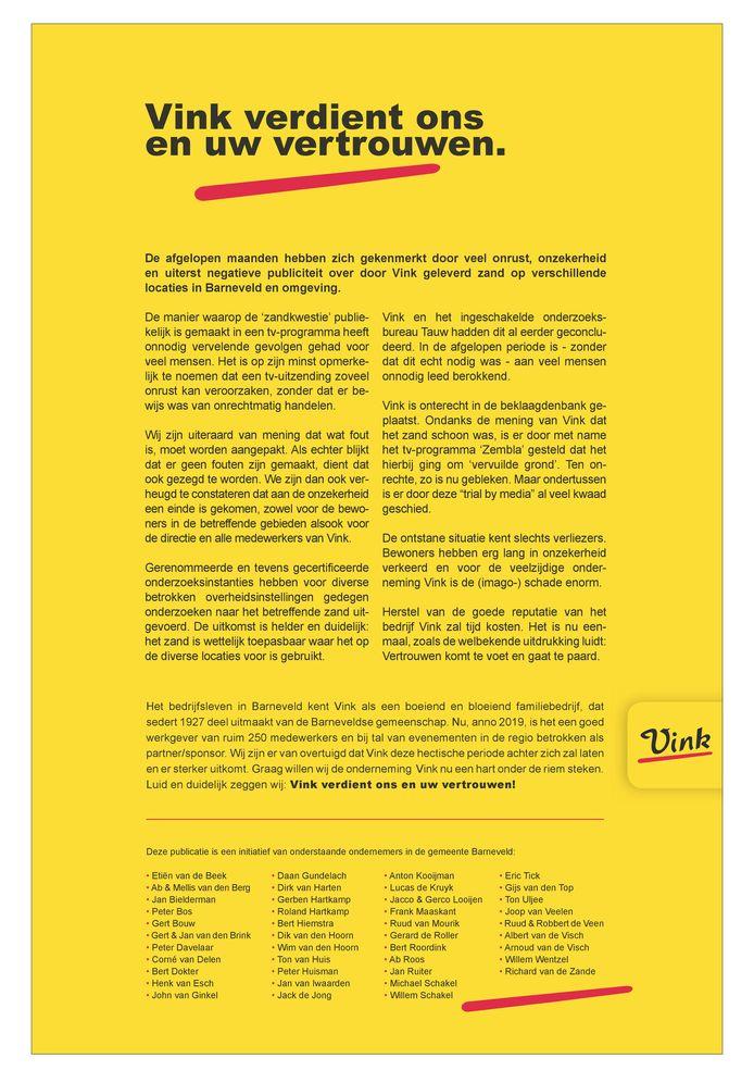 De  advertentie in de bedrijfskleur van Vink.