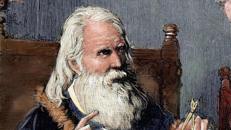 Galileo Galilei op een bewerkte gravure uit 1884. Beeld UIG via Getty Images