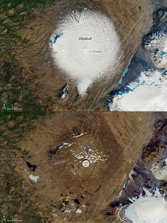 De gletsjer in 1986 en in 2019.