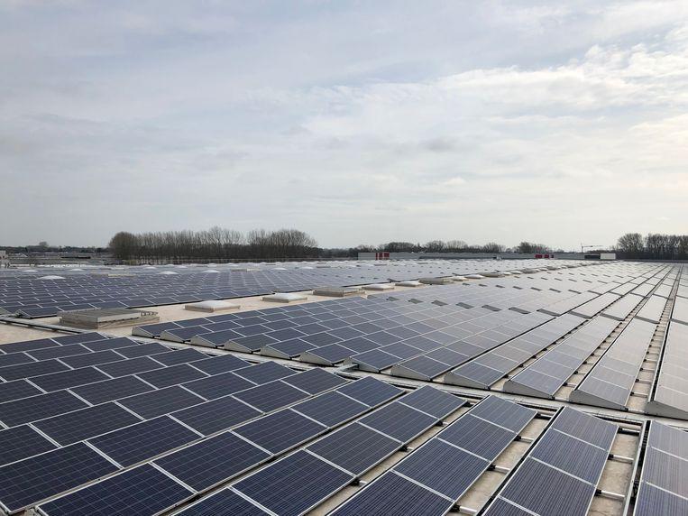 Op het dak van het Lidl-distributiecentrum in het Europark-Zuid in Sint-Niklaas liggen nu 7.200 zonnepanelen.
