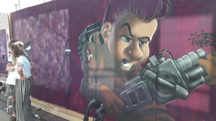 Een werk op het Museumplein in Ede tijdens een vorige editie van het Street Art Festival.