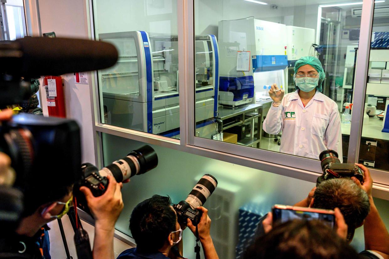 Een laborant van de Chulalongkorn-universiteit in Saraburi, Thailand toont eind mei een coronavaccin dat op apen zal worden getest. Beeld AFP