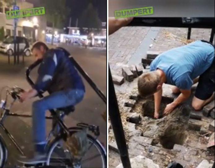 Deze jongeman kreeg zijn fiets niet meer van het slot in Heino. Dus moest het complete fietsenrek eraan geloven.
