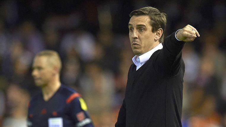Gary Neville wint voor het eerst met Valencia. Beeld getty