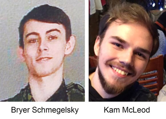 De politie verspreidde deze foto's van Kam McLeod (19) (rechts) en Bryer Schmegelsky (18).