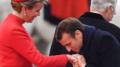 IN BEELD. Filip en Mathilde verwelkomen Franse president Macron