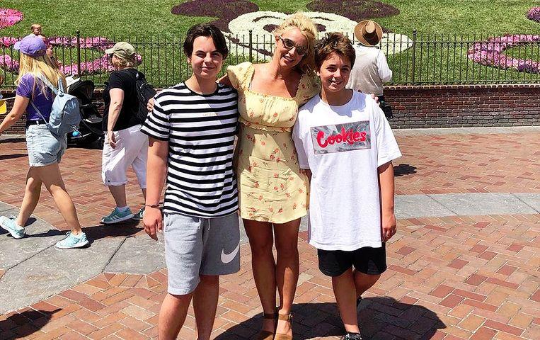 Britney Spears en haar zonen.