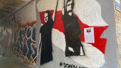 Graffitistraatje vraagt steun voor Wit-Rusland met een selfie