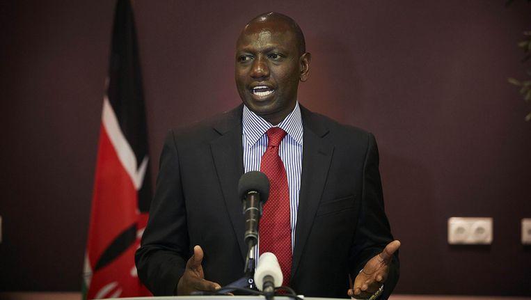 Vicepresident Kenia William Ruto vandaag op een persconferentie in Den Haag. Beeld reuters