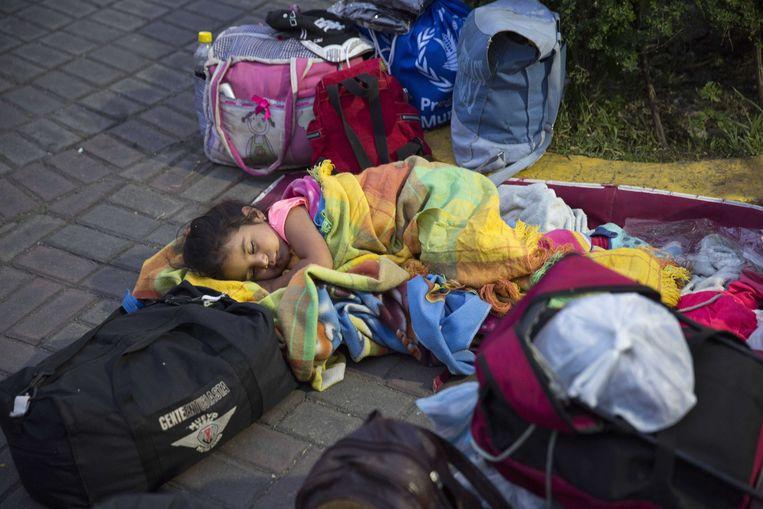 Vluchtelingen uit Venezuela komen bij van een helse tocht. Beeld ANP