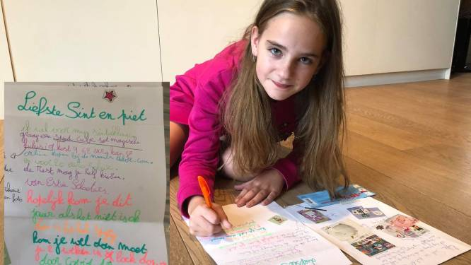 """Esthée (10), bekend van haar 'Nieuws Flech' op één A4'tje, geeft nu tip aan Sint en Piet: """"Als je niet komt is het spijtig, kom je wel dan moet je 2 weken in lockdown"""""""