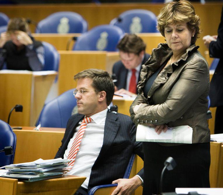 Rita Verdonk en Mark Rutte in de Tweede Kamer in 2008. Beeld null