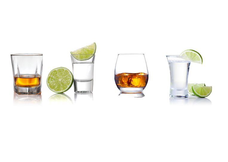 Van links naar rechts: whisky, tequila, rum en gin.
