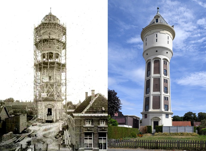 De watertoren, in 1915 en 2018, open  op Monumentendag 2018.
