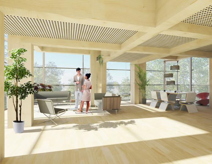 De woningen zijn open ruimtes, vrij in te delen, met veel glas.