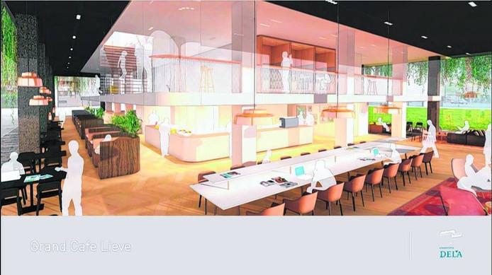 Zo gaat het restaurant op de begane grond in het DELA-kantoor eruit zien. In maart start de verbouwing.