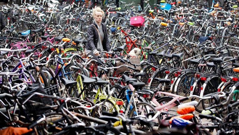De stad is al jaren bezig iets te doen aan de chaos van de vele geparkeerde fietsen. Daar komen nu de vele deelfietsen bij Beeld anp