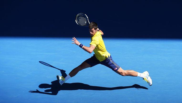 Djokovic in actie tijdens de Australian Open. Beeld epa