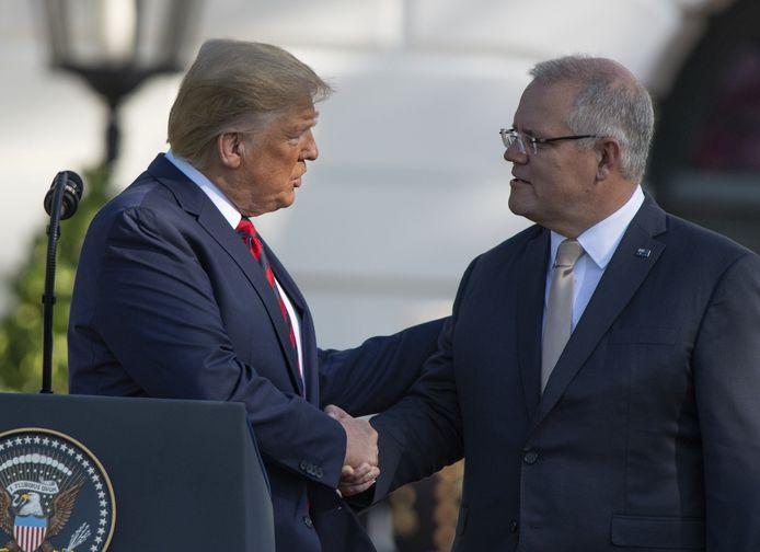 Amerikaans president Donald Trump met zijn Australische ambtsgenoot Scott Morrison.