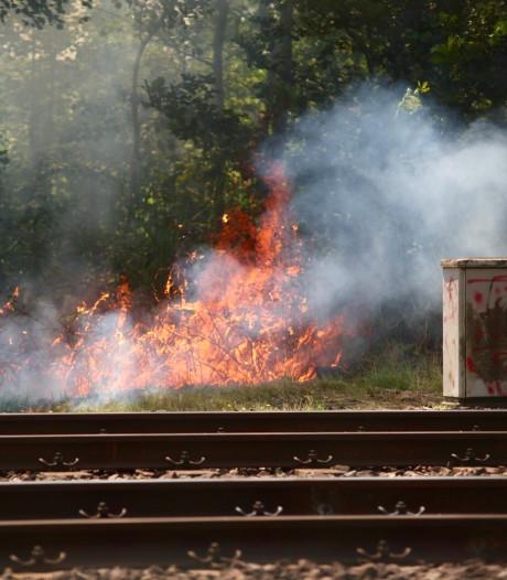 Meerdere bermbranden naast spoor bij Rijen: treinverkeer tussen Tilburg en Breda ligt plat