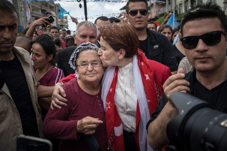 'IJzeren Dame' Meral Aksener van de Goede Partij (IYI). Beeld null