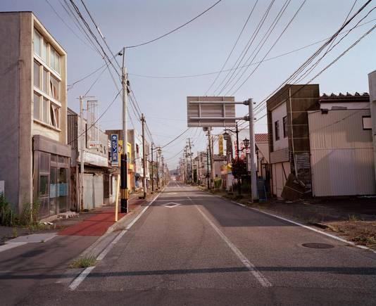 De stad Namie is volledig verlaten. Het gebied is alleen toegankelijk voor werklieden in beschermende plekken.