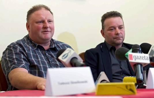 Piotr Koper en Andreas Richter tijdens een persconferentie vorig jaar over de nazitrein.