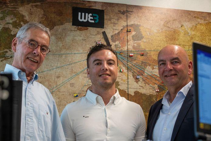 Cees, Sjors en Teun Wartenbergh (van links naar rechts) op het kantoor van WEB in Eindhoven.