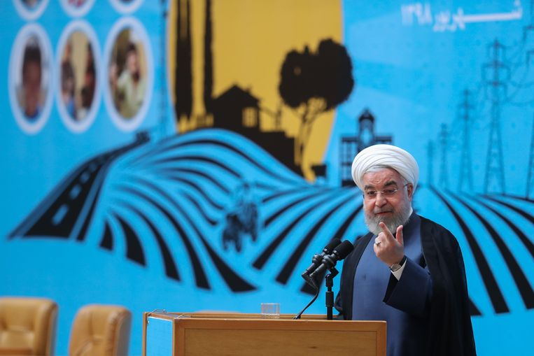 epa07794740 A handout photo made available by the Iranian presidential office shows Iran's President Hassan Rouhani speaking during an exhibition about government achievements, in Tehran, Iran, 26 August 2019. According to reports, Rouhani defended his foreign minister's visit to France during G7 summit saying his country is 'keeping road to diplomacy open'. Iranian Foreign Minister Javad Zarif was criticized from hardliner media for his surprise visit to France on 25 August, while a government spokesman stressed on 26 August his visit was not related to the meetings of the G7 summit.  EPA/PRESIDENT OFFICE HANDOUT  HANDOUT EDITORIAL USE ONLY/NO SALES