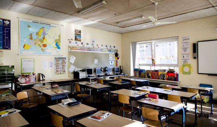 Een lege schoolklas op een basisschool.