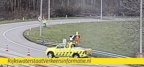 Boom op overgang A15 naar A325 bij Nijmegen; weg afgesloten