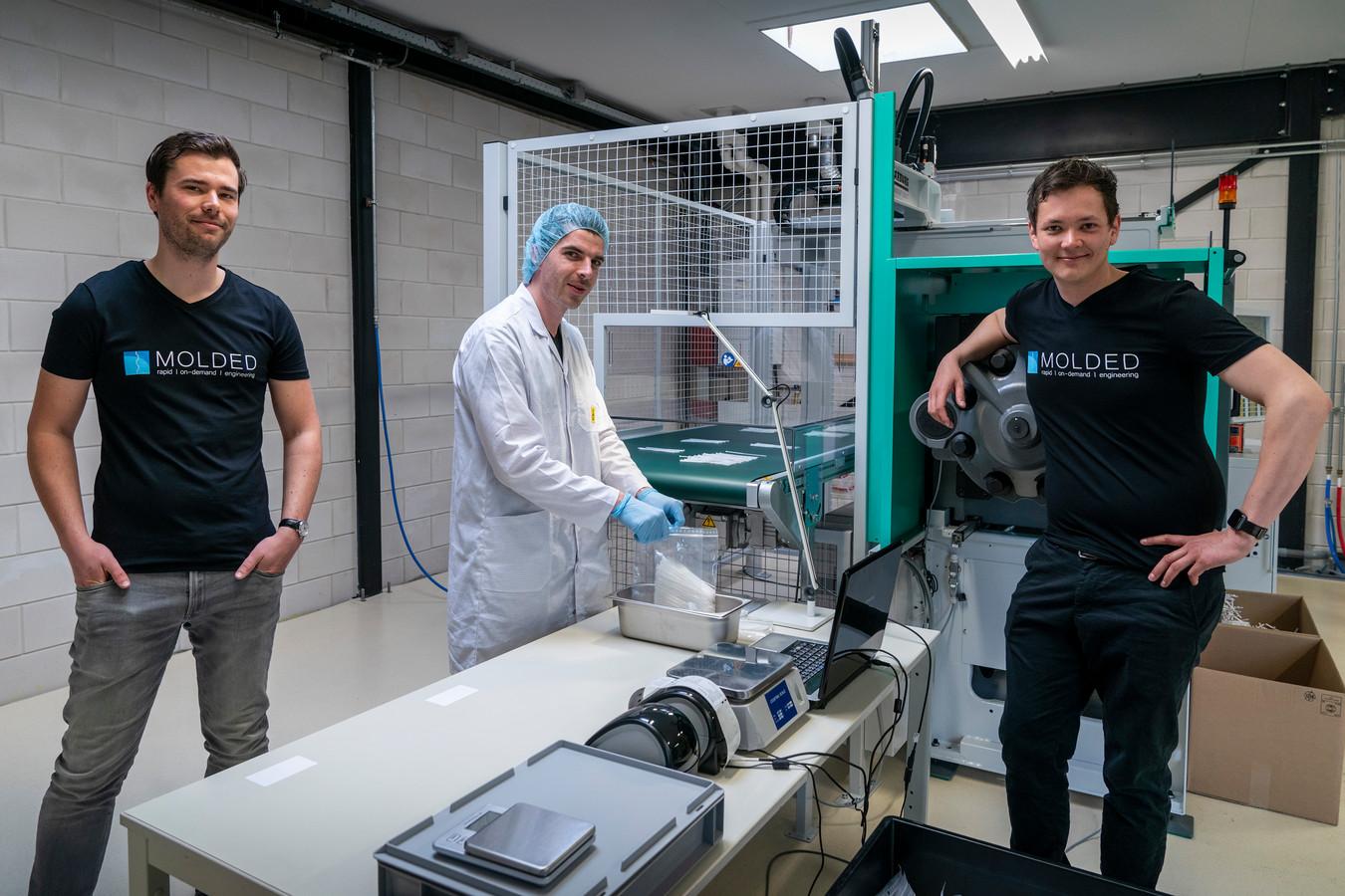 De drie jonge ondernemers van Molded. Met van links naar rechts Jeroen Raijmakers, Jeroen Compen en Martijn van de Ven.
