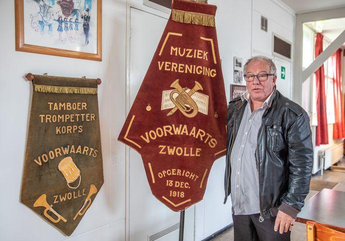 Voorzitter Henk van Raaij van muziekvereniging Voorwaarts. De vereniging stopt eind dit jaar.
