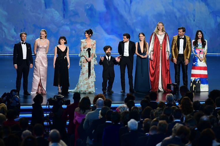 De cast van 'Game of Thrones' (HBO) tijdens de Emmy Awards in het Microsoft Theatre in Los Angeles.