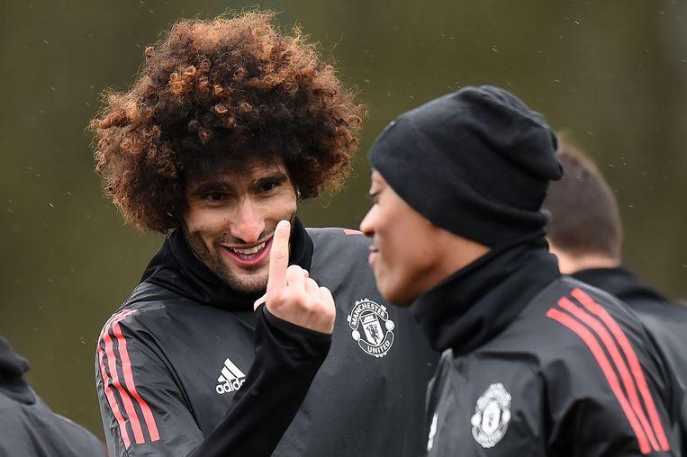 """""""Het was maar eenmalig"""": Marouane Fellaini gisteren op training met Anthony Martial."""