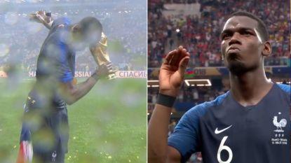 Even de dab doen met de Wereldbeker en zijn criticasters de mond snoeren: Paul Pogba kan dat (tot jolijt van Evra)