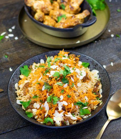 Wat Eten We Vandaag: Qabali palau: Afghaanse rijst met spinazie en kip