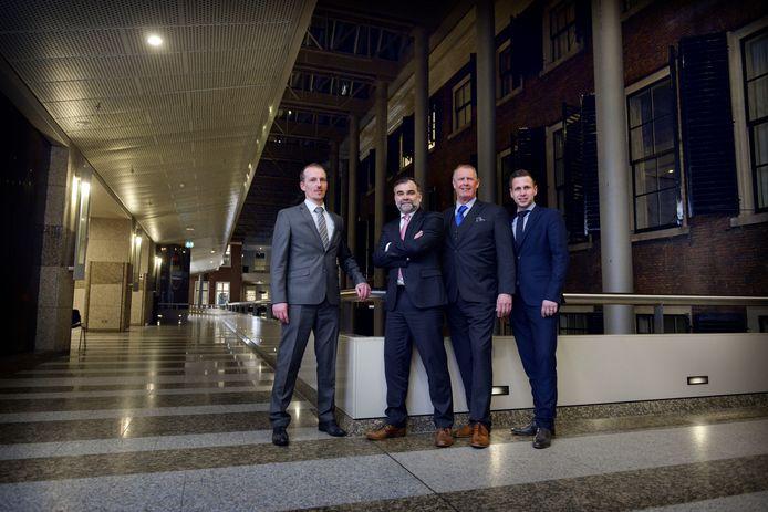 Presentatie PVV lijsttrekkers gemeenteraadsverkiezingen. Vlnr:   Sebastiaan Stoteler (Almelo), Erik Veltmeijer (Twenterand), Jan-Willem Elferink (Enschede) en Jordi Rietman (Hengelo).