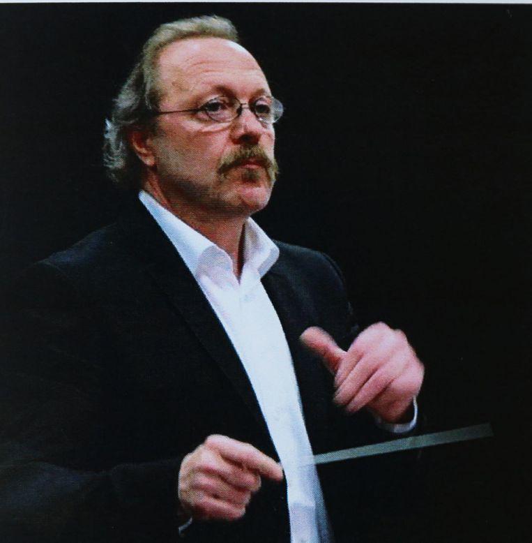 Het bidprentje van dirigent Jan Verhavert.