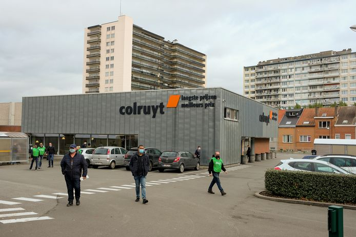 Vakbondsactie aan de Colruyt in Anderlecht.