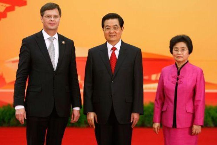 Balkenende met de Chinese president en zijn vrouw. ANP Beeld