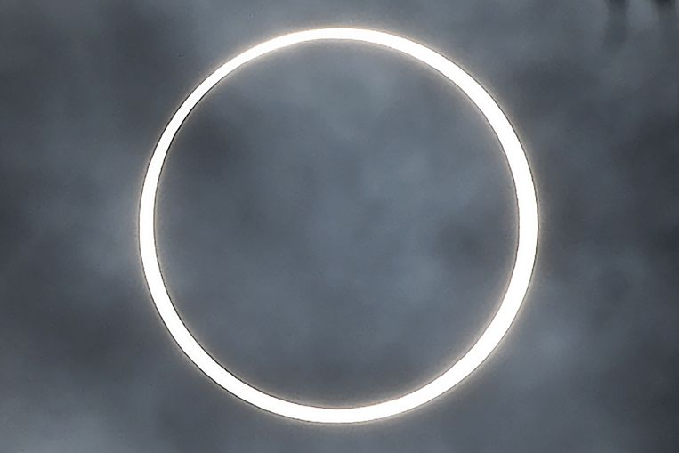De 'ring of fire' gefotografeerd in Dindigul, een stad in het zuiden van India.