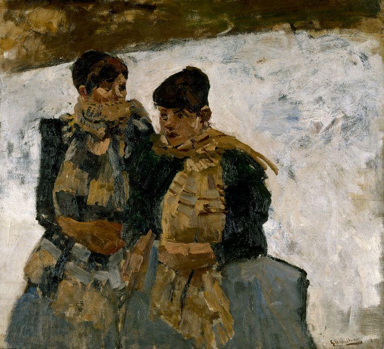 Meisjes in de sneeuw (1894), van George Hendrik Breitner. Beeld